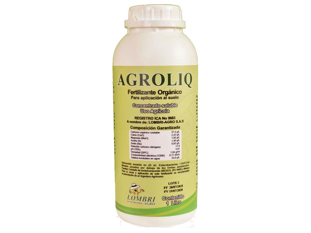 Fertilizante Orgánico AGROLIQ para mejorar la fertilidad de los suelos de los cultivos.